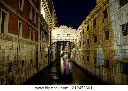 The famous Bridge of Sighs at night in Venice, Italy.