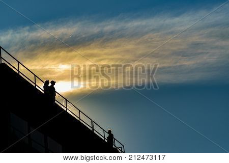 Couple At Viewpoint Silhouette Scene