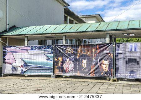 BAD NAUHEIM GERMANY AUGUST 2017: Barrier with Elvis Presley banners on 16 th European Elvis Festival in Bad Nauheim Hessen