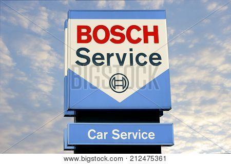 WETZLAR GERMANY JULY 2017 BOSCH CAR SERVICE chain sign. BOSCH CAR SERVICE is a German global Car service chain based in Stuttgart Baden-Württemberg Germany.