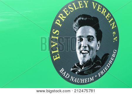 BAD NAUHEIM GERMANY AUGUST 2017: Elvis Presley Sticker on green car sheet. Picture shot at16 th European Elvis Festival