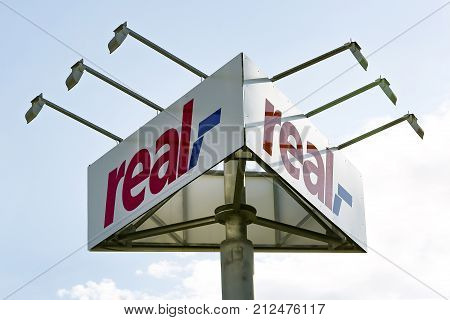 WETZLAR GERMANY JULY 2017: Real Logo from Real supermarket. Real is a retail chain of the Metro Group which operates several hundred supermarkets through the Real Group Holding GmbH in Germany