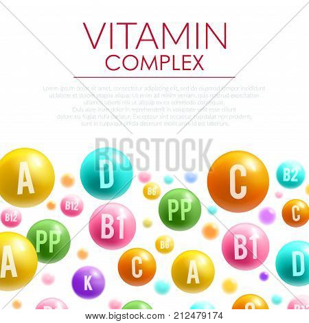 Vitamin complex poster of vitamins letters on bubble balls. Vector design of A, B and C and PP or ascorbic acid vitamin D mineral for healthy lifestyle or health drug package design template