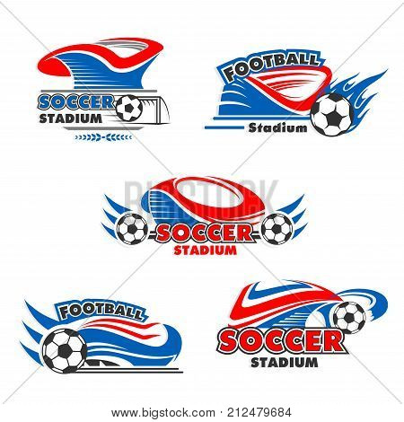 Soccer stadium or football sport arena icons set. Vector isolated badges set of soccer ball flying with wings for sport fan club or football game championship star award and laurel wreath