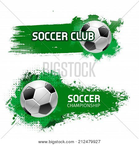 Soccer club or football sport team icon template of flying ball and green color splash. Vector isolated symbol of goal for soccer championship or college league tournament