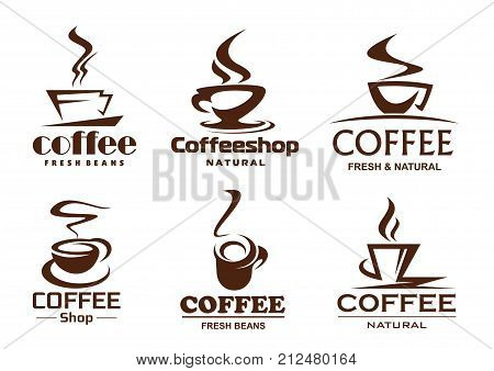 Coffee cups line icons for cafeteria, cafe or coffeeshop and coffehouse design template. Vector isolated symbols of hot steam cup with strong espresso or latte macchiato and americano or cappuccino