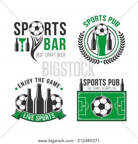 Soccer sport bar or football fan pub icon design template. Vector signs of soccer ball, beer cup or glass bottle, laurel wreath ribbon and tournament champion stars on football green field