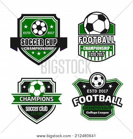 Soccer cup or football championship tournament icons templates. Vector isolated set of football ball, victory wreath or champion ribbon and stars on shield badge for soccer team or college league