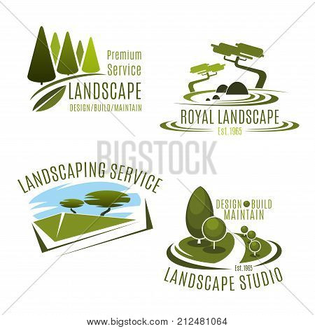 Green landscape design service and gardening company icons templates. Vector symbols set of green nature tress and park garden or woodland plantations for horticulture association