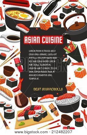 Asian cuisine or Japanese restaurant poster template for sushi rolls bar menu. Vector design of chopsticks tuna sashimi or eel unagi maki, Philadelphia sushi with salmon, rice and seaweed nori