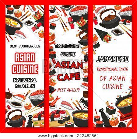Japanese sushi restaurant banners for menu or sushi bar design template. Vector Asian cuisine sushi roll and chopsticks, seafood soup and ramen noodles, salmon or tuna sashimi and tempura shrimp
