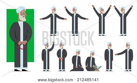 Set of traditionally clothed muslim character poses and emotions. Cartoon style islam dress code. Vector flat illustration.