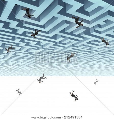 Falling down business people and economic turmoil metaphor as a group of businesswomen and businessmaen plunging from a maze with 3D render elements.