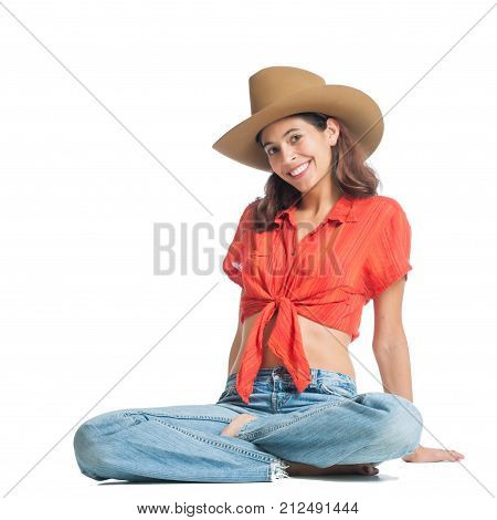 Pretty girl from western USA wearing a cowboy hat.