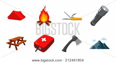 Rest in the camping icons in set collection for design. Camping and equipment vector symbol stock  illustration.