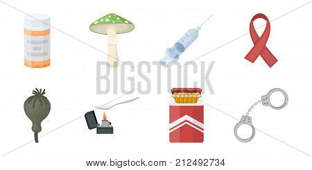 Drug addiction and attributes icons in set collection for design. Addict and Drug vector symbol stock  illustration.
