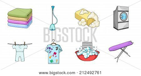 Dry cleaning equipment icons in set collection for design. Washing and ironing clothes vector symbol stock  illustration.