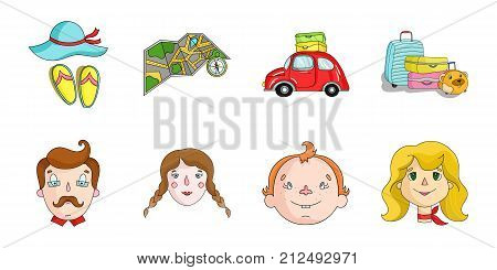 Family holiday icons in set collection for design. Recreation and equipment. vector symbol stock  illustration.