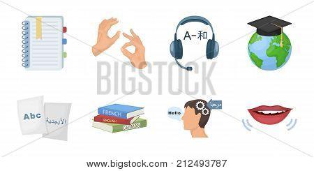 Translator and linguist icons in set collection for design. Interpreter vector symbol stock  illustration.