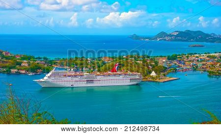 Saint Lucia, Saint Lucia - May 12, 2016: The Carnival Cruise Ship Fascination at dock. She is one of 8 sister ships and received a million dollar refurbishment in 2006