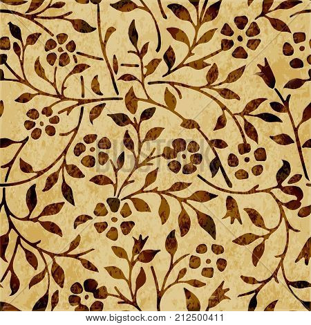 Retro Brown Watercolor Texture Grunge Seamless Background Spiral Curve Vine Flower Leaf
