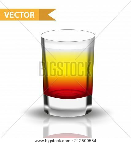 Realistic  shots cocktails. 3d Shot with drinks for bars, restaurans collection. Glass cup liqueur. Isolated on white background. Vector illustration