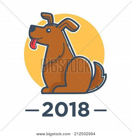 2018 Year of dog according to Chinese calendar. Fluffy friendly animal with long tongue, yellow circle behind and sign underneath isolated cartoon flat vector illustration on white background.