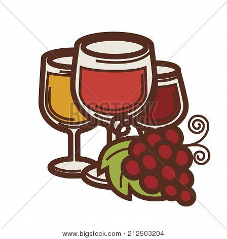 Wine glass or red and white wine and grape vine icon for winemaking or wine production design. Vector symbol of viticulture winery and vineyard