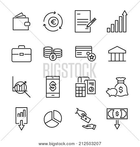 Premium set of banking line icons. Simple pictograms pack. Stroke vector illustration on a white background. Modern outline style icons collection.