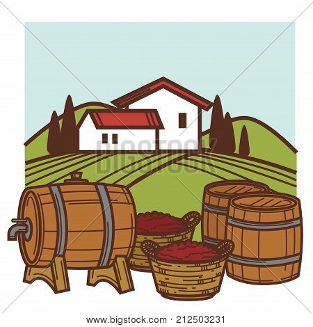 Winemaking or wine production viticulture icons set. Vector winery and vineyard farm, wine barrels or glass bottles and grape vintage harvest in winepress icons