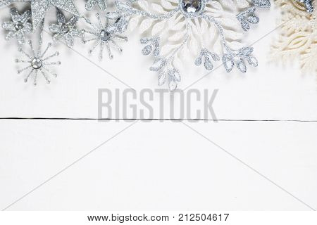 Silvery Snowflakes. Christmas Decor.