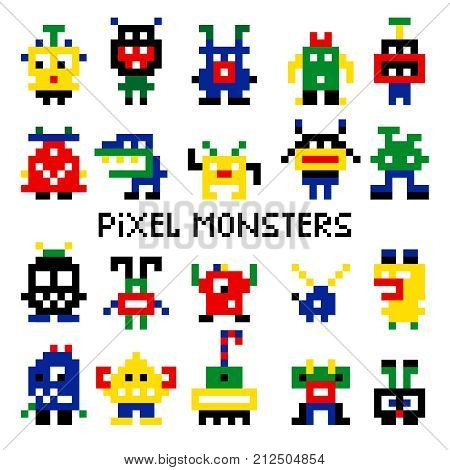 Vector pixel invaders vector illustration. Colored pixelated retro space monsters for 8 bit arcade computer game