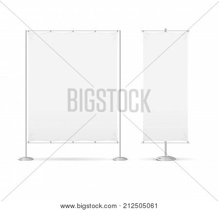 Blank Banner Billet Press Wall Set Empty Mock Up Wide and Narrow. Vector illustration of Template Banners for Advertising