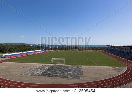 Gelendzhik, Krasnodar region, Russia - July 22, 2015: Spartak Stadium in the city Gelendzhik