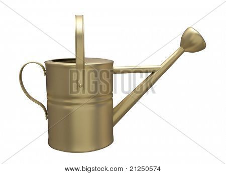 Garden watering can painted isolated on a white background poster