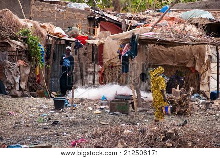 BAMAKO, MALI - CIRCA FEBRUARY 2012: A Bozo village just outside Bamako.