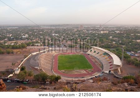 BAMAKO, MALI - CIRCA FEBRUARY 2012: Bamako stadium seen from a hilltop