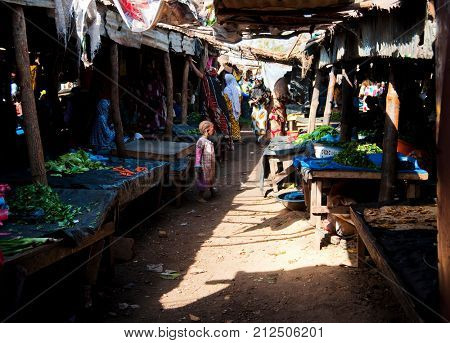 BAMAKO, MALI - CIRCA FEBRUARY 2012: Fruit and vegetable market in Bamako.