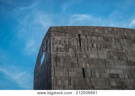 Vienna,  Austria - August 17, 2017:  Mumok Museum at sunset. It is a modern architecture building museum in the Museumsquartier with a huge collection of modern and contemporary art.