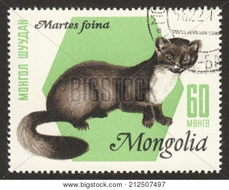 MOSCOW RUSSIA - CIRCA OCTOBER 2017: a post stamp printed in MONGOLIA shows Stone Marten (Martes foina) the series