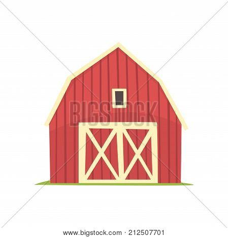 Red barn, wooden agricultural building with closed doors cartoon vector Illustration on a white background