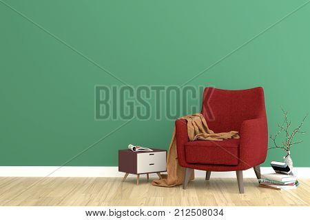 Minimal. Green living room interior with rose fabric armchair, cabinet, coffee cup and plants on empty white wall background.3d rendering.