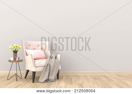 Minimal. White living room interior with white fabric armchair, cabinet, coffee cup and plants on empty white wall background.3d rendering.