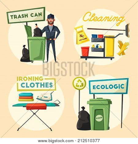 Janitor with cleaning equipment. Character design. Ironing clothes and trash. Cartoon vector illustration. Cleaning company, service. Man in uniform. Professional cleaner.