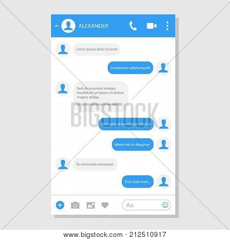 Social network messenger page template. Business and private communication service. Chat and social networking empty window. Vector flat style cartoon illustration