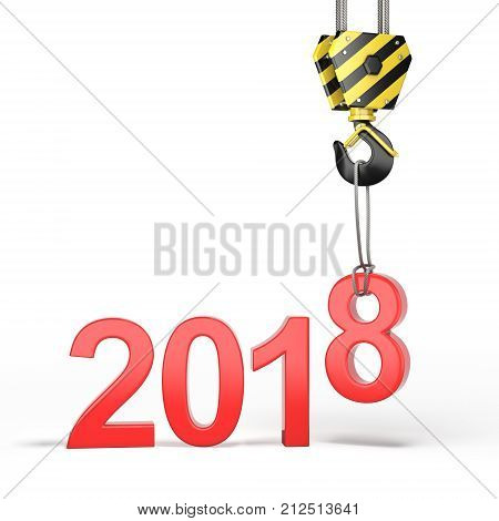3D Rendering Of The Crane Hook With The New 2018 Year