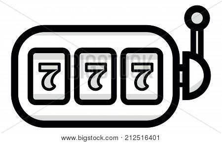Lucky Seven On Slot Machine Icon. Simple Illustration Of Lucky Seven On Slot Machine Vector Icon For