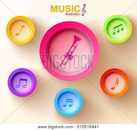 Abstract music design concept with colorful round buttons trumpet and musical notes on light background vector illustration