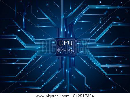 Computer processor. CPU chip electronic circuit board with processor. Vector illustration