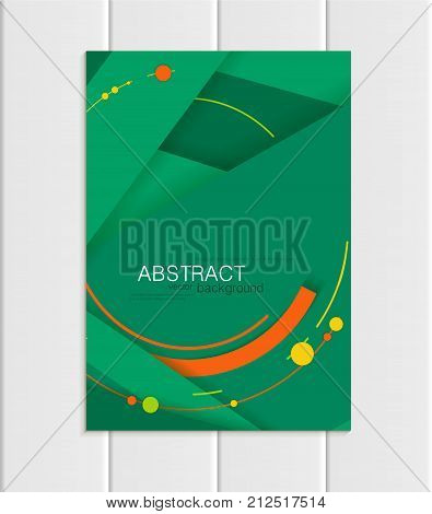 Stock vector brochure A5 or A4 format material design style. Design business templates with abstract orange round shapes on green backgrounds for printed material, element corporate style, card, cover